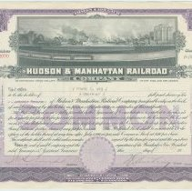Image of Stock certificate: Hudson & Manhattan Railroad Co. for 1/2 shares common stock, dated Dec. 22, 1923. - Certificate, Stock