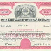 Image of Stock certificate: Erie-Lackawanna Railroad Co., red, for 100 shares common stock, dated April 7, 1964. - Certificate, Stock