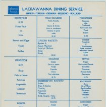 Image of Menu in 5 languages from Lackawanna Dining Service, Erie-Lackawanna Rail Road, Hoboken, no date, ca. 1960. - Menu