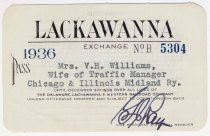 Image of Railroad pass: Lackawanna Exchange No. B 5304 for 1936. Delaware, Lackawanna & Western Railroad Co. pass good for 1936. - Pass