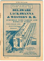 Image of Delaware Lackawanna & Western R.R. Suburban Time Tables and Rates of Fare for Steam & Electric Trains. In Effect May 15, 1934. - Timetable