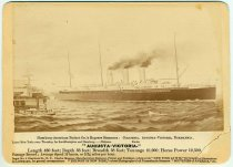 """Image of Souvenir card for Hamburg-American Packet Co.'s """"Auguste-Victoria,"""" New York, no date, ca. 1900. - Card, Souvenir"""