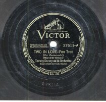 """Image of Record: """"Two In Love."""" (A-side). Vocal by Frank Sinatra. Tommy Dorsey Orchestra. Victor Records. 78 rpm. No. 27611. - Record, Phonograph"""