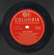 "Image of Record: ""Sweet Lorraine."" Vocal by Frank Sinatra. With The Metronome All Stars. Columbia Records. 78 rpm. No.37293 [CO37177]. - Record, Phonograph"