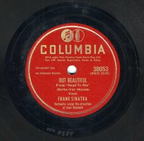 """Image of Record: """"But Beautiful."""" Vocal by Frank Sinatra. Conducted by Axel Stordahl. Columbia Records. 78 rpm. No.38053 [HCO2538]. - Record, Phonograph"""