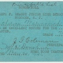 Image of honor roll card