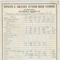 Image of Report & honor roll card of Katherine Marinovich for the 7th grade, Brandt Junior High School, Hoboken, 1946. - Card, Report