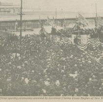 Image of Digital image of newspaper photograph of the opening of the Hoboken terminal of the Hudson & Manhattan Railroad, Feb. 25, 1908. - Photograph, Illustration