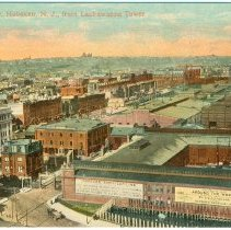 Image of Digital image of postcard of Bird's Eye View from Lackawanna Tower, Hoboken, no date, ca. 1910. - Postcard