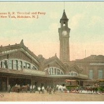 Image of Digital image of postcard of Lackawanna Rail Road Terminal and Ferry to New York, Hoboken, no date, ca. 1905. - Postcard