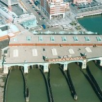 Image of Digital image of color photo of an aerial view of the Hoboken Terminal looking northwest from the Hudson River, Hoboken, April 13, 2000. - Print, Photographic