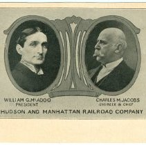 Image of Digital image of postcard with cameo portraits of William McAdoo & Charles Jacobs, The Hudson & Manhattan Railroad Co., no date, ca. 1908. - Postcard