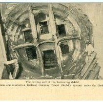 Image of Digital image of Hudson & Manhattan R.R. postcard titled: The cutting end of the burrowing shield, 1908. - Postcard