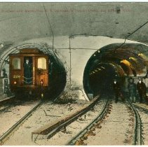 Image of Digital image of Hudson & Manhattan R.R. postcard titled: View in the Hudson & Manhattan R.R. Company's Tunnel under the Hudson River. No date, ca. 19 - Postcard