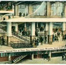 Image of Digital image of Hudson & Manhattan R.R. postcard titled: Hudson Tunnels Terminal, Sectional View of Track Floor, Concourse,..., n.d., ca. 1909. - Postcard