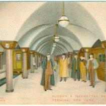 Image of Digital image of Hudson & Manhattan R.R. postcard titled: Hudson & Manhattan Subway Terminal New York (actually Hoboken station). 1909. - Postcard