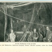 Image of Digital image of Hudson & Manhattan R.R. postcard titled: In the darkness of an air-lock. 1908. - Postcard