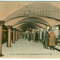 Image of Digital image of Hudson & Manhattan R.R. postcard titled: 19th St. Station, Hudson & Manhattan Subway, New York. No date, ca. 1909. - Postcard