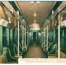 Image of Digital image of Hudson & Manhattan R.R. postcard titled: Interior of one of the most improved tunnel cars. No date, ca. 1910. - Postcard