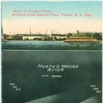 Image of Digital image of Hudson & Manhattan R.R. postcard titled: North or Hudson River Showing Cross Section Penn. Tunnel, New York City. No date, ca. 1910. - Postcard