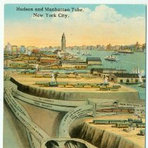 Image of Digital image of Hudson & Manhattan R.R. postcard titled: Hudson and Manhattan Tube, New York City. No date, ca. 1910. - Postcard