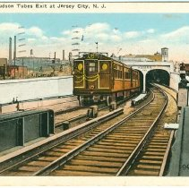 Image of Digital image of Hudson & Manhattan R.R. postcard titled: Hudson Tubes Exit at Jersey City, N.J. No date, ca. 1922 - Postcard