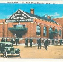 Image of Digital image of Hudson & Manhattan R.R. postcard titled: 224 Hudson Tubes, Park Place Station, Newark, N.J. no date, ca. 1915. - Postcard