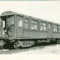 Image of Digital image of Hudson & Manhattan R.R. photo postcard of motorized unit no. 266 at Meadows Car Shop, Oct. 12, 1958. - Print, Photographic