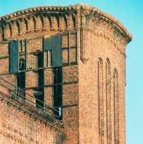 Image of Digital image of color photo of an exterior detail of tower top at the former Hudson & Manhattan Rail Road powerhouse, Jersey City, Oct., 199 - Print, Photographic