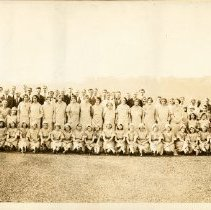 Image of Sepia-tone panoramic photo: Employees of Shoup-Owens, Inc., posed on the roof of the main building at 1100 Adams St., Hoboken , n.d. - Print, Photographic