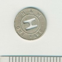 Image of Metal coin token of the Hudson & Manhattan Rail Road, no date, ca. 1944. - Token, Transportation