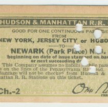 Image of Printed ticket of the Hudson & Manhattan Railroad Co., 1922. - Ticket, Transportation