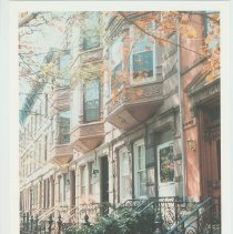 Image of Gallagher Postcard: #17. Brownstones on 12th & Bloomfield St. Photo by Brian Gallagher. - Postcard