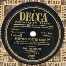 Image of Record: Stephen Foster Medley, Barber Shop Quartet. Decca Records, N.Y., no date, ca. 1954. - Record, Phonograph