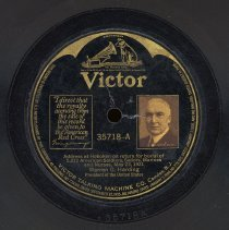 Image of Record: Harding's Address; Ceremony for War Dead at Hoboken pier, May 23, 1921. Victor 35178. - Record, Phonograph