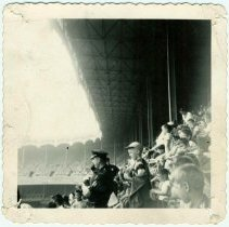 Image of B+W photo of a Hoboken Police Athletic League baseball team outing to a game at Yankee Stadium, New York City, no date, ca. 1955. - Print, Photographic
