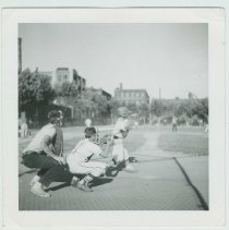 Image of B+W photo of a baseball game at the high school sports field, Hoboken, no date, ca. 1955. - Print, Photographic