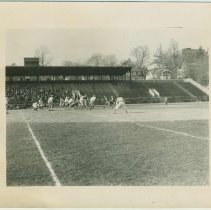 Image of B+W photo of a football game at the athletic field of Stevens Institute of Technology, Hoboken, no date, ca. 1950. - Print, Photographic