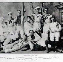 "Image of B+W photocopy of a printed photo of the ""Baseball NIne, 1883"" baseball team, no place, no date, 1883. - Print, Photographic"