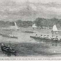 Image of B+W photocopy of article with illustration of rowing, boat, race, Hoboken, 1866. - Print, Photomechanical