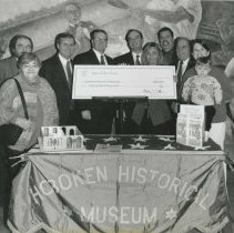Image of B+W photo of ceremony for presentation of grant check to Museum for building new home, Hoboken, 2000. - Print, Photographic