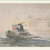 Image of Postcard: Tugboat Crossing the Hudson River, from watercolor 1993 by Naima Rauam. Published by NewYorkPaintings.com, ca. 1993. - Postcard