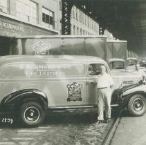 Image of B+W photo of trucks of R. Neumann & Co. parked on Observer Highway west of Willow Avenue, Hoboken, August 7, 1939. - Print, Photographic