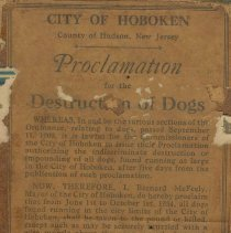 Image of Proclamation for the Destruction of Dogs. City of Hoboken, 1934. - Announcement