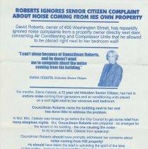 Image of Political handbill: Against Councilman David Roberts re noise complaints, Hoboken, no date, ca. 1999. - Handbill
