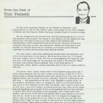 Image of Political campaign letter from Thomas Vezzetti, mayoral candidate, Hoboken, no date, [1985]. - Letter