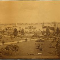 Image of Sepia tone photo of Hudson Square Park, Hoboken, no date, ca. 1880. - Print, Photographic