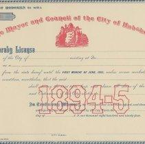 Image of Unissued City of Hoboken License for 1894-95 expiring the first Monday of June, 1895, Hoboken, 1894. - License
