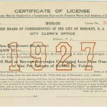 Image of Unissued City of Hoboken Certificate of License for alcoholic beverages for 1927 expiring Dec. 31st, 1927, Hoboken, 1926. - License