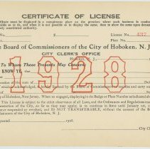 Image of Unissued City of Hoboken Certificate of License for 1928 in force until Jan. 1st, 1929, Hoboken, 1927. - License